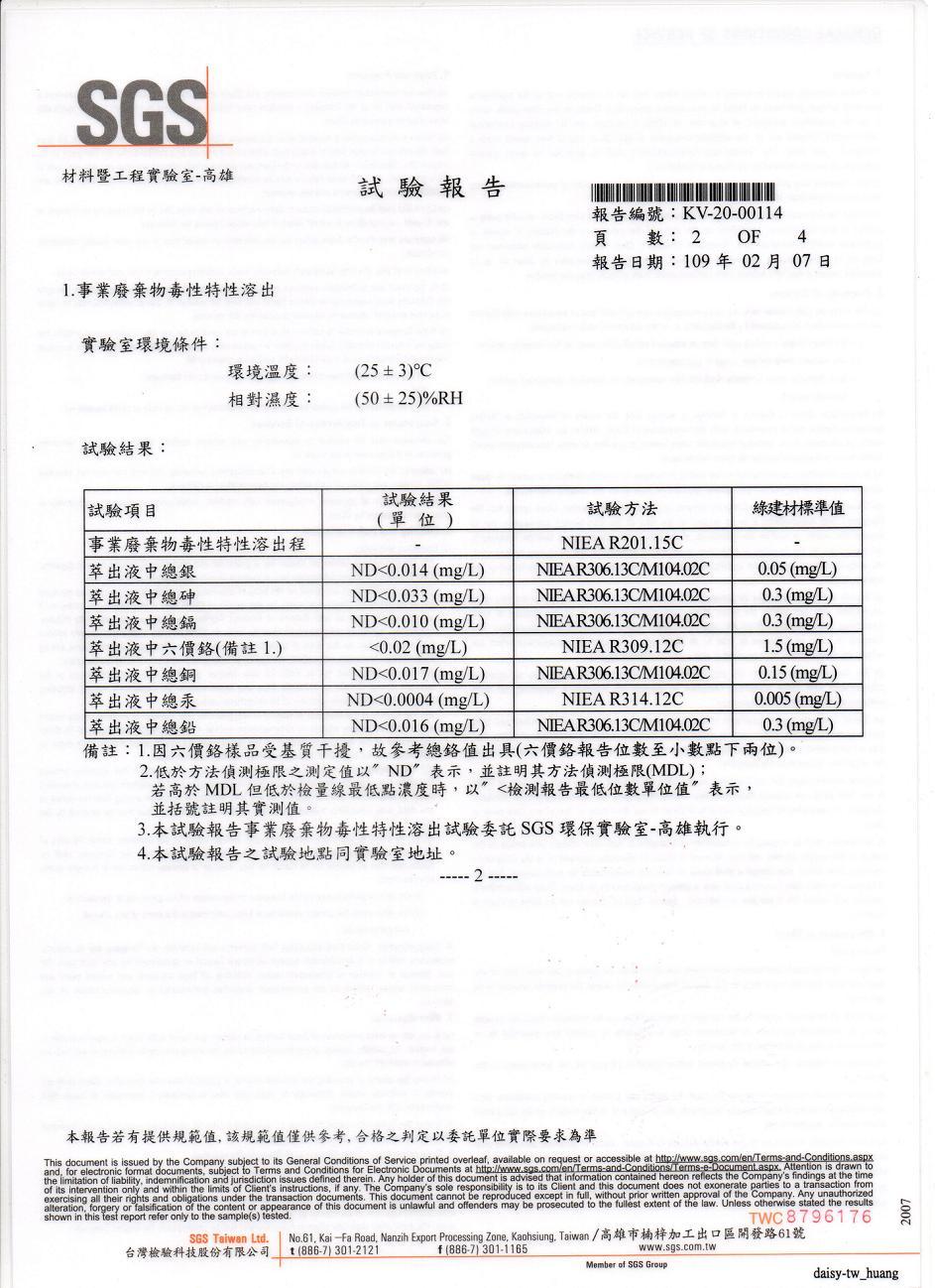 SGS-甲醛、八大重金属检验报告